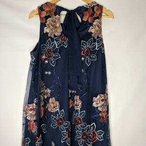 Eci New Embroidered Floral A-Line Dress
